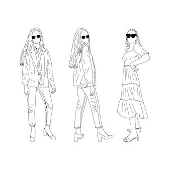 Studenten in stilvoller kleidung. linearer stil. vektor-illustration.