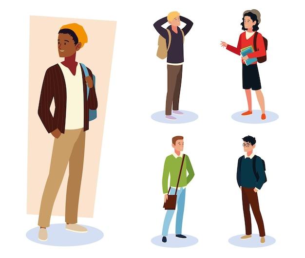 Studenten männlich verschiedener nationalitäten mit rucksäcken und büchern