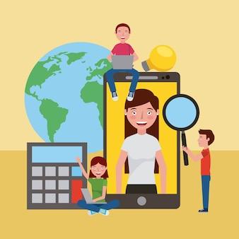 Studenten smartphone welt lernen online-bildung