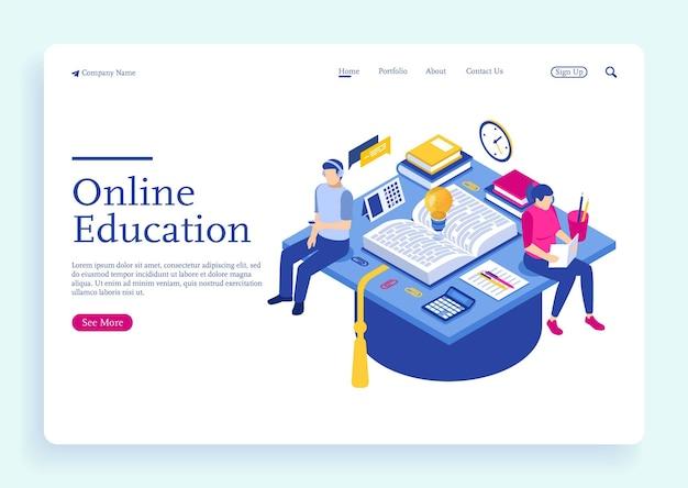 Studentencharaktere, die im raum mit lernfähigkeiten mit online studieren