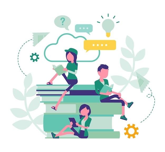 Studentenfreunde, die bücher lesen