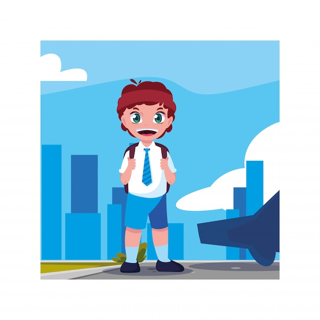 Studentenjunge mit schulkoffer, zurück zu schule