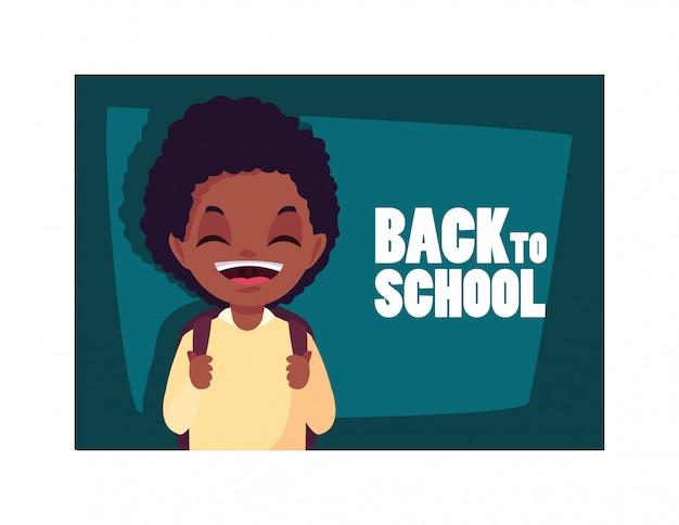 Studentenjunge mit zurück zu schule, zurück zu schule