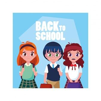 Studentenkinder mit zurück zu schulaufkleber, zurück zu schule