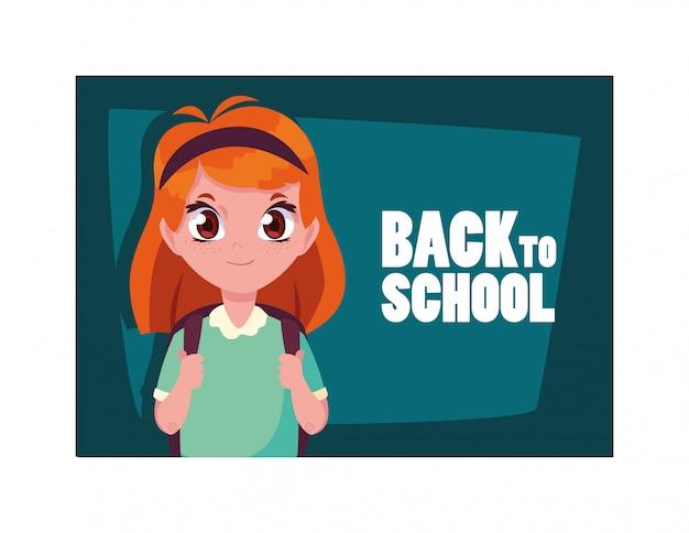 Studentenmädchen mit zurück zu schulaufkleber, zurück zu schule