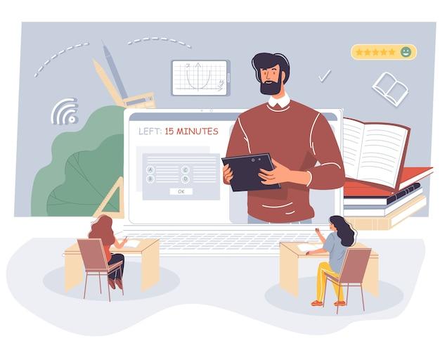 Studentenprüfung im physik-mathematik-online-unterricht.