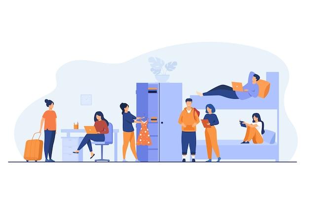 Studentenwohnheim interieur. junge reisende halten im hostel. vektorillustration für alternative unterkunft, backpackerhaus, reisekonzept