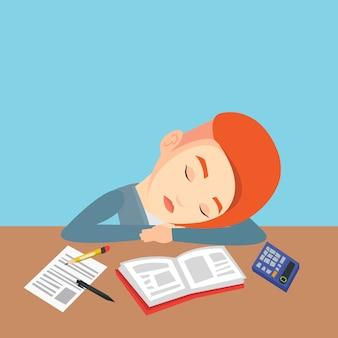 Studentin, die am schreibtisch mit buch schläft.