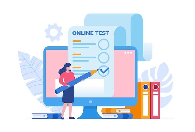 Studentin, die einen online-test besteht und antworten überprüft. flache vektorillustration