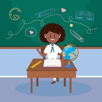 Studentin im schreibtisch mit globaler karte und bleistift