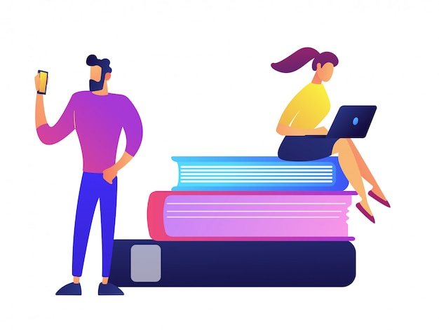 Studentin mit laptop, der auf stapel von büchern und student mit handyvektorillustration sitzt.