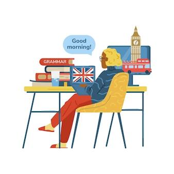 Studentin oder lehrerin, die online englisch lernt oder unterrichtet, bleibt zu hause