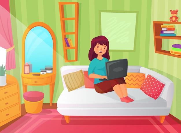 Studentin schlafzimmer. jugendlichwohnungsraum, on-line-studie zu hause und studentinlesung auf laptop-computer karikaturillustration