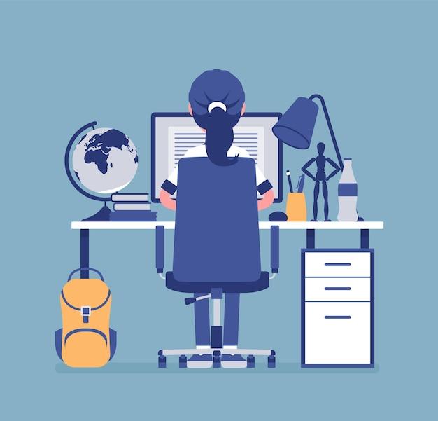 Studentin sitzt am schreibtisch, rückansicht. junge schüler, die hausaufgaben oder aufgaben machen, teenager, die sich auf schulprüfungen, fernunterricht und online-kurse vorbereiten, externes heimstudium. vektor-illustration
