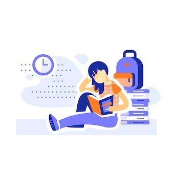 Studentin sitzt und liest bücher, bildungsprogramm, literatur lernen