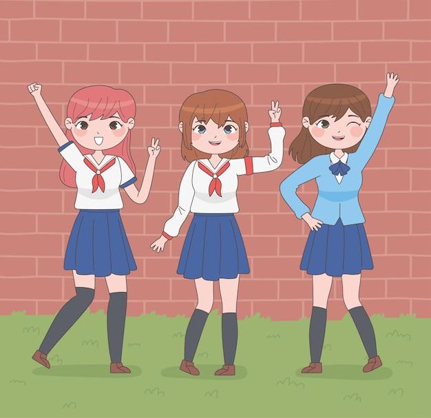 Studentinnen im manga-stil, die arme heben