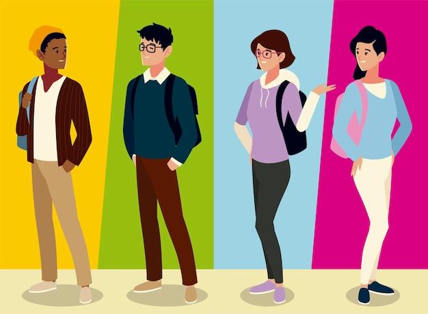 Studentische männliche und weibliche charaktere mit rucksäcken, farbige hintergrundillustration