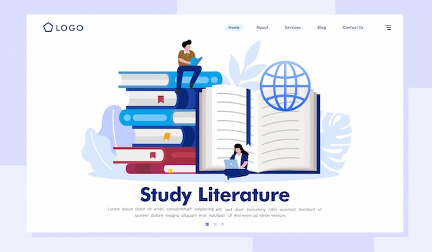 Studienliteratur-landing page-website-illustrations-vektor