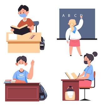 Studieren an schulen, hochschulen und universitäten während der coronavirus-pandemie. studenten sitzen an schreibtischen und lernen neue disziplinen. lehrer erklärt den schülern neue disziplin. vektor im flachen stil Premium Vektoren
