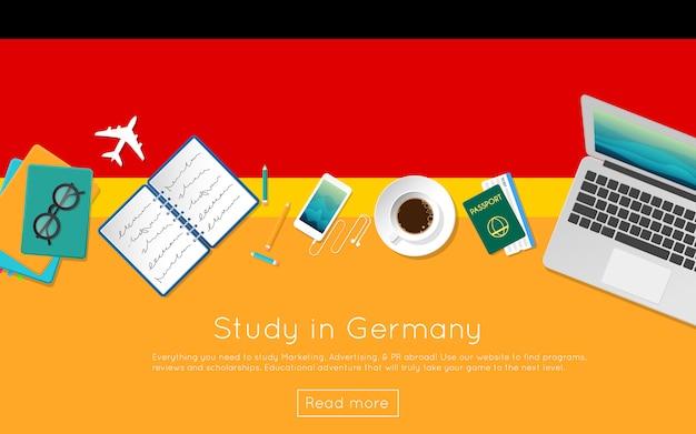 Studieren sie in deutschland konzept für ihr web-banner