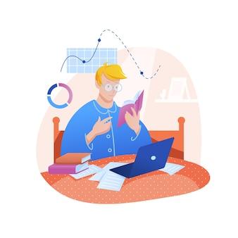 Studieren, zu hause arbeiten. karikatur junger mann studentencharakter, der von büchern auf laptop-notizbuch studiert
