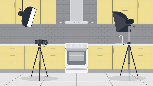Studio für küchen-vlogs. stilvolle küche im flachen stil.