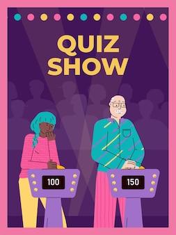 Studio mit spielern, die quizfragen in der tv-show erraten, eine illustration