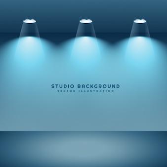 Studiohintergrund mit drei lichter