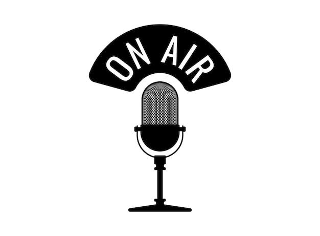 Studiotisch-vintage-retro-mikrofon mit live-übertragungs-webcast-audioaufzeichnungsemblem