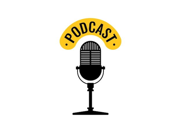 Studiotisch vintage retro-mikrofon-podcast-emblem live-übertragung webcast-audio-record-symbol
