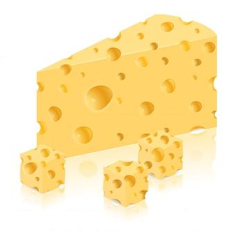 Stück der käsevektorillustration