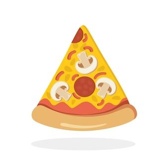 Stück pizza mit pilzen, salami