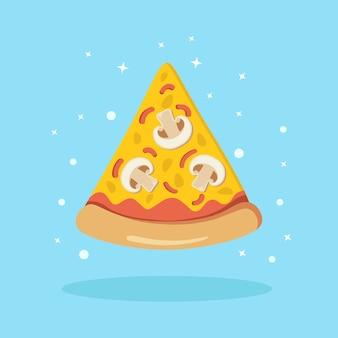 Stück pizza mit pilzen