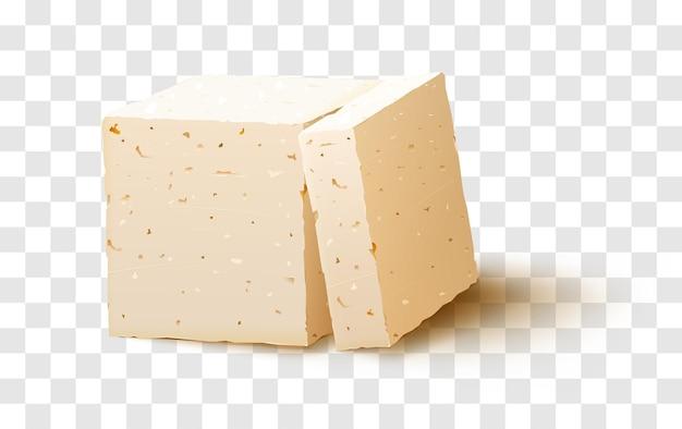 Stück tofu auf transparentem hintergrund. tofukäse.