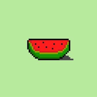 Stück wassermelone im pixel-art-stil