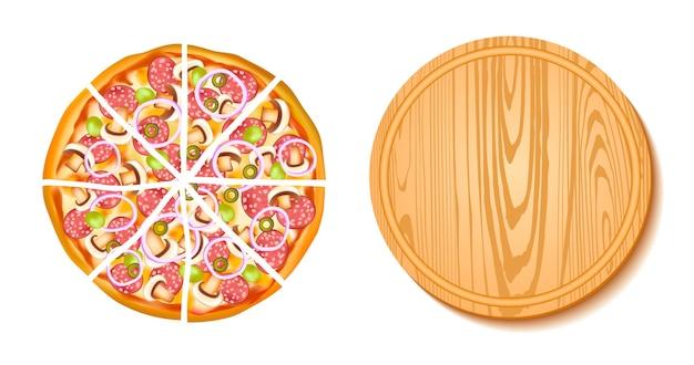 Stücke pizza und die brettzusammensetzung