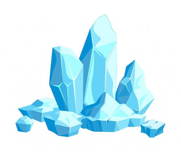 Stücke und kristalle aus eis, eisberge für design und dekoration