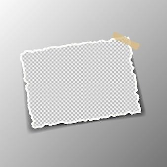 Stücke von zerrissenem weißem papierabstraktion werden auf einen grauen quadratischen hintergrund geklebt. illustration.