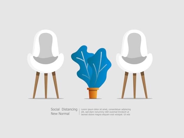 Stühle mit sozialem distanzierungskonzept