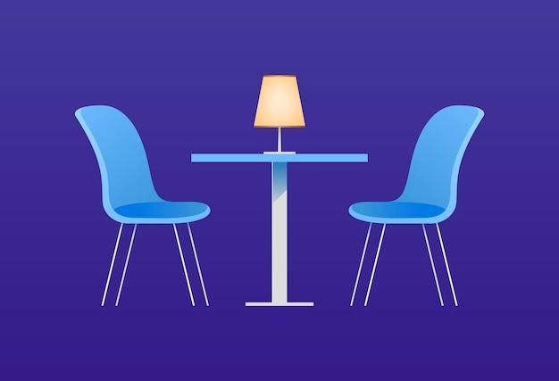 Stühle und tisch im café. vektorillustration mit möbelelementen für ein interieur des cafés oder des esszimmers