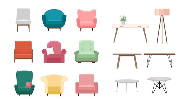 Stühle und tische gedeckt. karikatur von möbeln verschiedener farbe, möbliertes wohnzimmer