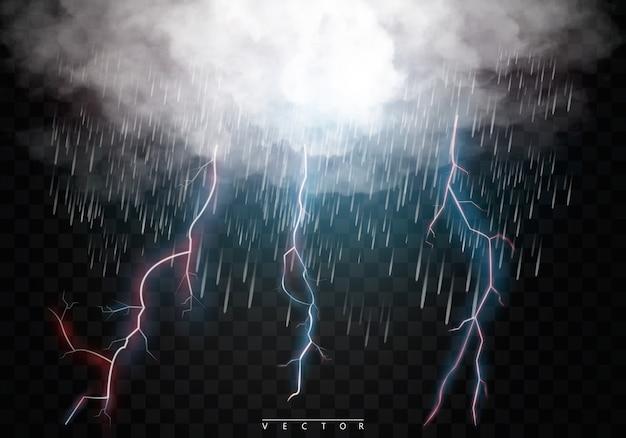 Stürmische wolken, regen und blitz.