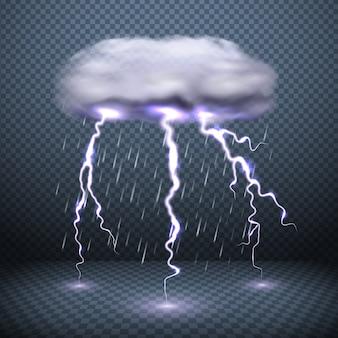 Stürmischer wolkenblitz und fallender regen realistische vektorillustration