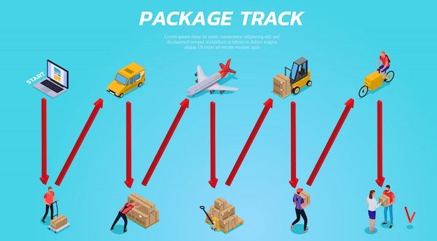 Stufen der logistischen lieferung vom paketauftrag zum kundenversand auf blauem isometrischem horizontalem