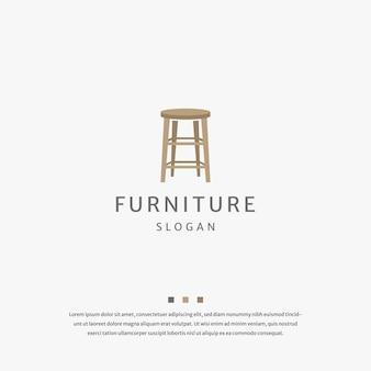 Stuhl holzmöbel logo icon design vorlage flacher vektor