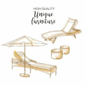 Stuhl lounge sonnenschirm skizze