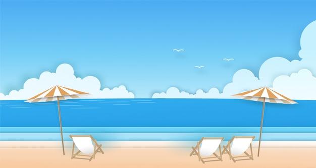 Stuhl und sonnenschirm am strand mit wolken, vögeln und blauer himmel hintergrund. sommer vektor papierkunst konzept.
