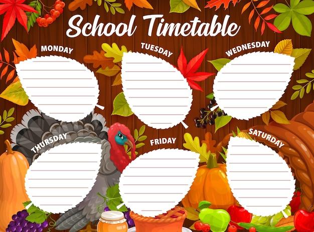 Stundenplan der bildungsschule. erntedank- und herbsterntevektorschablone mit karikaturtruthahn, kürbis, gefallenen blättern und fruchternte. kinderstundenplan für den unterricht, wochenplanerrahmen
