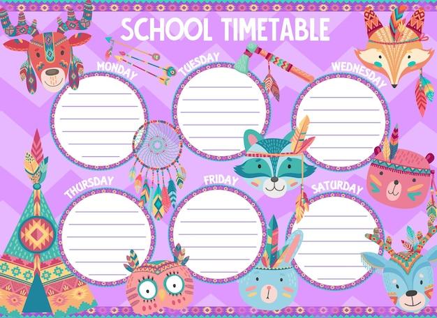 Stundenplan der schule mit indischen cartoon-tieren. schülerbildungsplaner, studienplan und wochenplan der schülerklassen mit vögeln und tieren, indischen federn, pfeilen und tomahawk