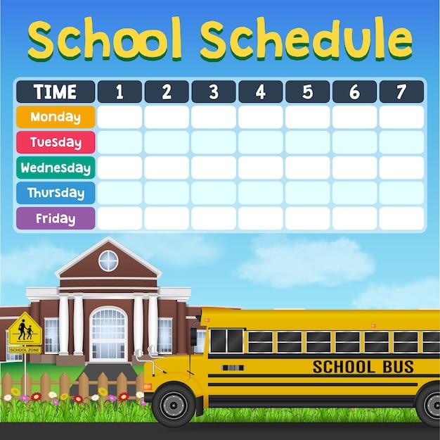Stundenplan der schule mit studentenartikeln